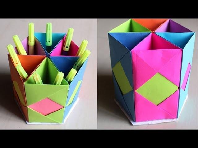 DIY - How to Make Pen Stand | Origami Pen Holder | Paper Pencil Holder | Hexagonal Pen Holder