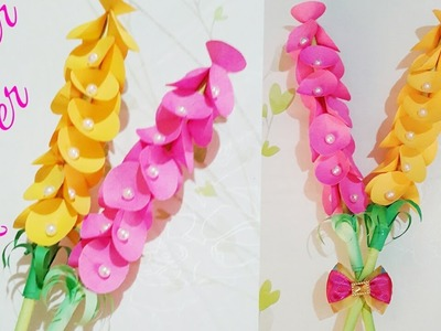 DIY papercraft  easy paper flower stick   how to make paper flower    paper flower stick