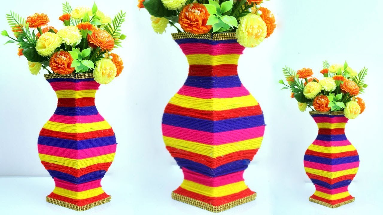 Gorgeous big flower Vase making at home very easy | Paper & wool flower vase make