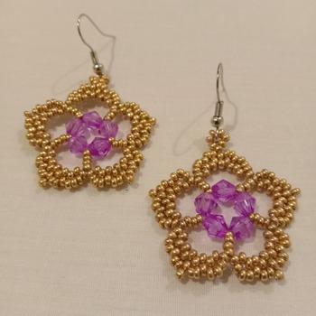 Handmade Golden Purple Flower Earrings