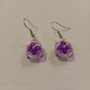 Handmade Purple Tiny Square Earrings