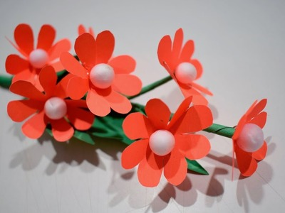 How to Make Easy Paper flower stick | DIY flower making ideas