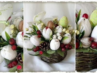 Мастер-класс: БУКЕТ из КОНФЕТ. 15 белых тюльпанов с ЗАКРЫТЫМИ БУТОНАМИ, пасхальная корзинка из газет
