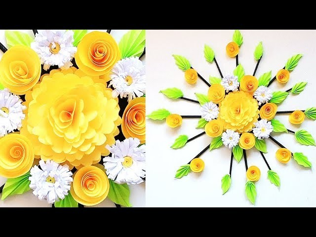 Wall Decoration Ideas | Beautiful Wall Hanging Making at Home | Paper Flower Wall Hanging