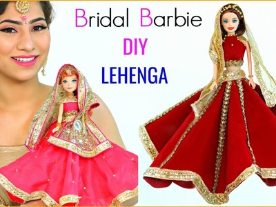 10 Mins DIY Indian Bridal BARBIE Lehenga & Jewellery | #Decoration #Styling #Anaysa #DIYQueen