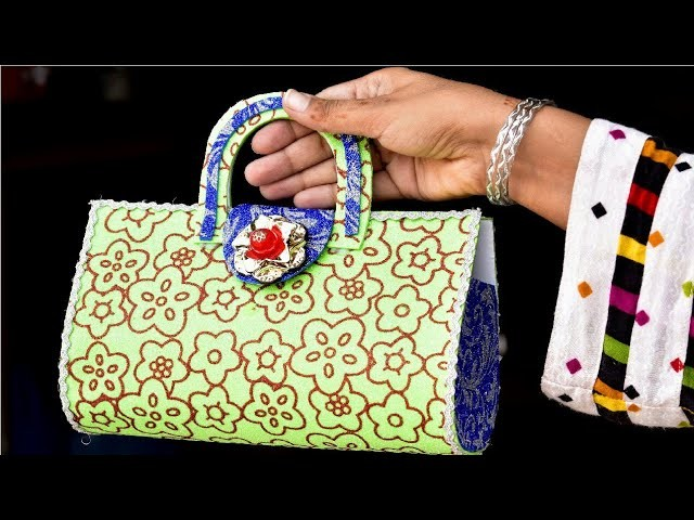 Best Out Of Waste Idea -- DIY Purse With Glitter Sheet -- Craft For Girls