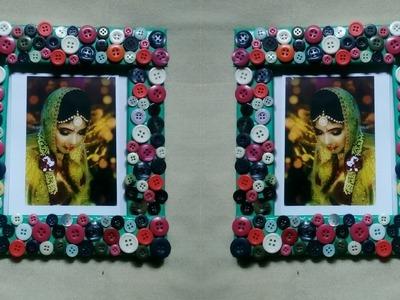 Coloured Buttons Photo Frame || DIY Colour Button Photos Frame Idea || Recycling Buttons Origami
