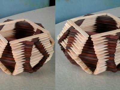 DIY Basket with ice cream sticks - 175 Pieces || How to make Basket with ice cream sticks || #2