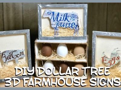DIY Dollar Tree 3D Farmhouse Cow, Pig & Chicken Decor Signs - Wall Or Table Decor - Shadow Box Decor