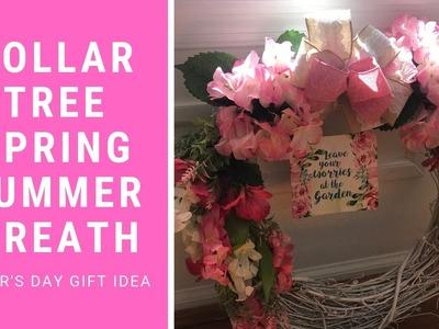 DIY DOLLAR TREE SPRING & SUMMER WREATH   MOTHERS DAY DIY