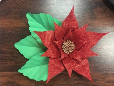DIY: How to make a Beautiful Red Glitter Foam flower. Como Hacer una flor de foamy o Goma Eva