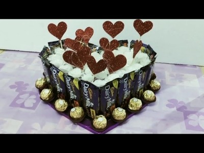 DIY;HOW TO MAKE CHOCOLATE HAMPER IN HEART SHAPE CAKE STYLE