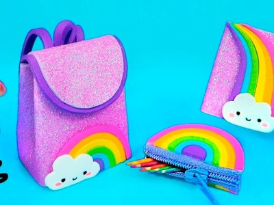 DIY Miniature RAINBOW School Supplies (Backpack, Pencil Case, Pen, Notebook) REALLY WORK!