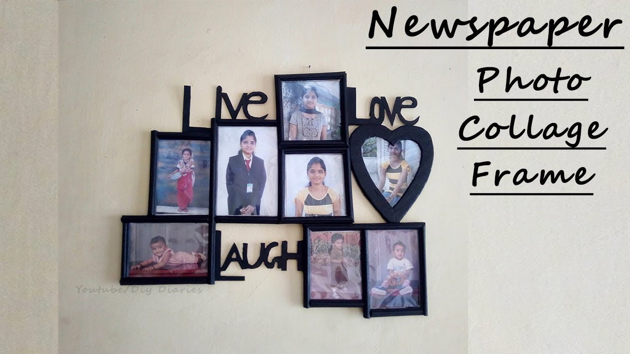 DIY Newspaper Photo Frame at Home | Photo Collage. Frame Gift Ideas