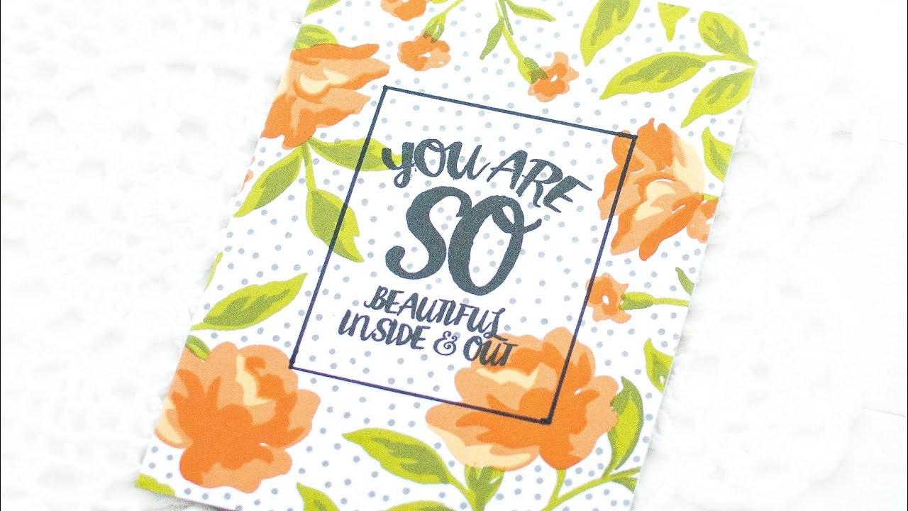 DIY One Layer Handmade Floral Card w. Stamped Background   Feat. Altenew Rose Spray Stamp Set