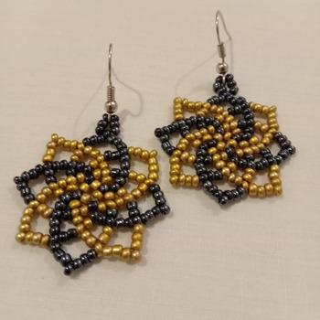 Handmade Golden Black Twist Earrings