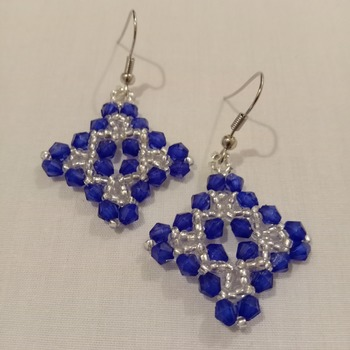 Handmade Royal Blue Cross Earrings