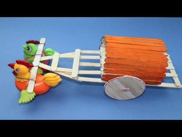 Making A Cart Using Pop Stick and Waste | DIY Kids Toys | 5 MINUTE CRAFTS VIDEOS