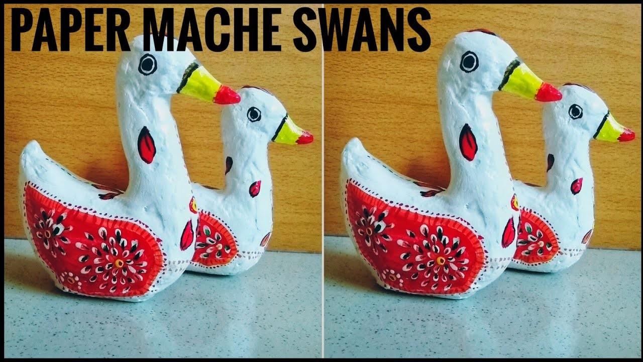 Paper mache clay swan set showpiece | DIY home decor | Best out of waste ideas
