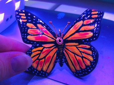 Butterfly Monarch. Painted Polymer Clay. Tutorial.