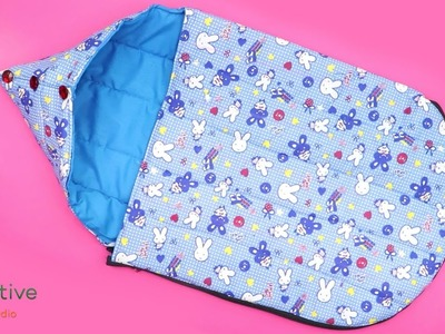 Cutting, stitching and sewing simple Baby Sleeping set at home.