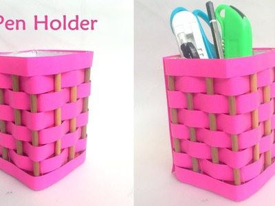 DIY- How to make pen stand.pencil holder. desk organizer from paper?Paper Craft Idea | Reuse craft