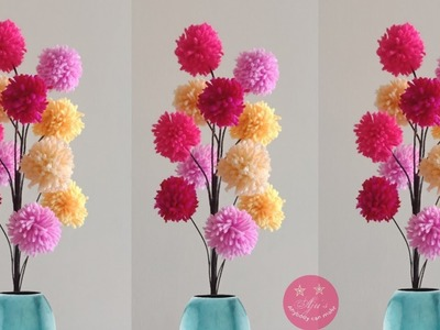 EASY WOOLEN.Yarn CRAFT | POMPOM FLOWER HOME DECOR | MULTI COLOURED POMPOM FLOWER TREE