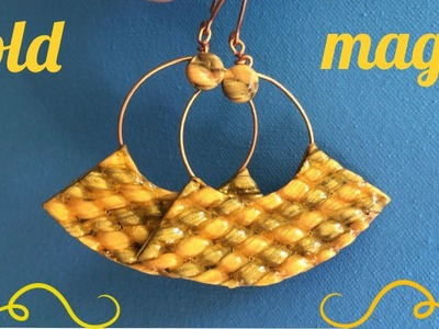 """""""Gold Magic """" Elegant Polymer Clay Earrings with Braided Shape. Easy Wire Wrapping."""