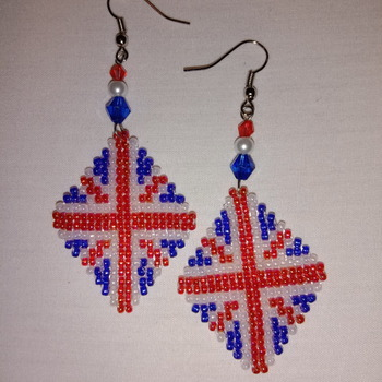Handmade Diamond Shape Beaded British Earrings