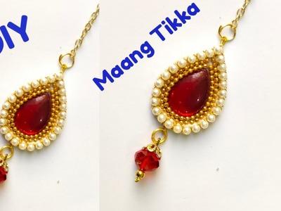 How to make Maang tikka at hame.DIY Maang tikka. Wedding Jewelleryry