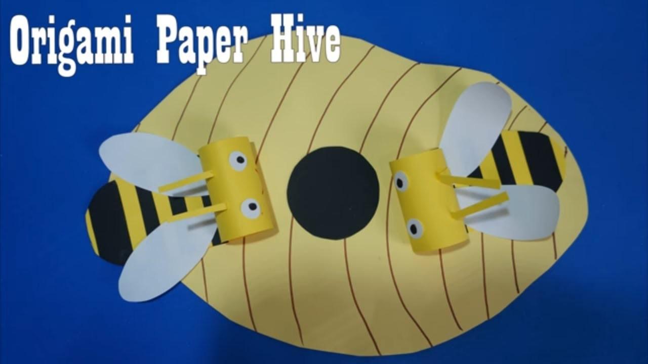 Origami Paper Hive Paper Craft For Kids | paper craft art,Preschool crafts