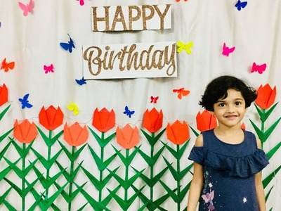 Paper Flowers birthday decoration at home | Floral birthday backdrop decoration |