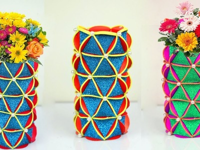 Simple paper craft flower vase | How to make flower vase with paper step by step at home