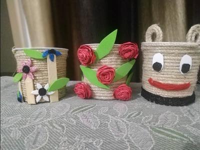 DIY Desk Organizers   diy organizer    Best out of waste empty verka dahi cup Craft Idea