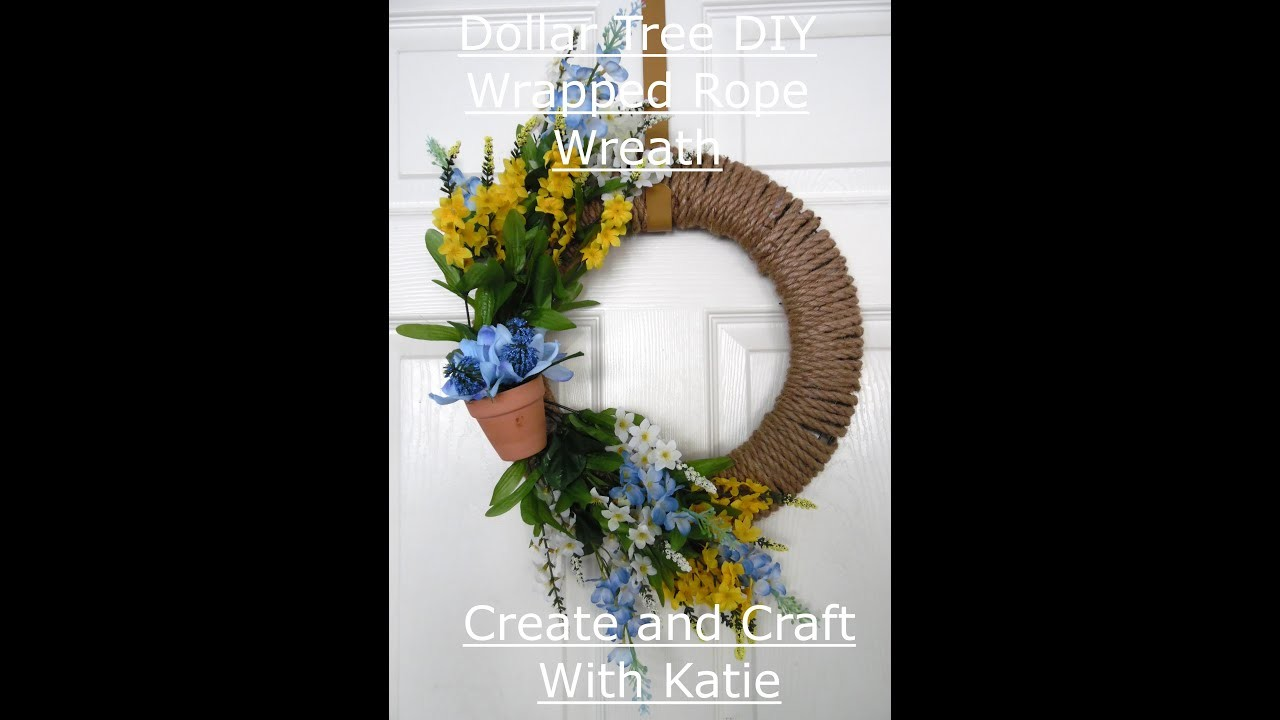 Dollar Tree DIY Wrapped Rope Wreath Spring Florals