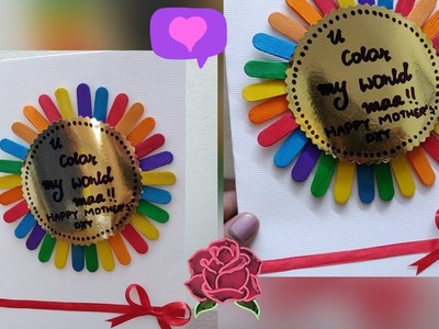 Handmade greeting Card for mother's day.Gift ideas for mother's day.Ice cream stick diy craft ideas