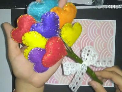 How to make a Bouquet. DIY Handmade Felt Heart Bouquet. Diy Gift ideas