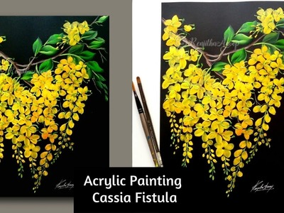 Painting tutorial | step by step acrylic painting spring flowers for beginners