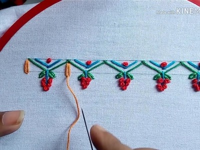 #64# A new, easy and beautiful border design with hand embroidery