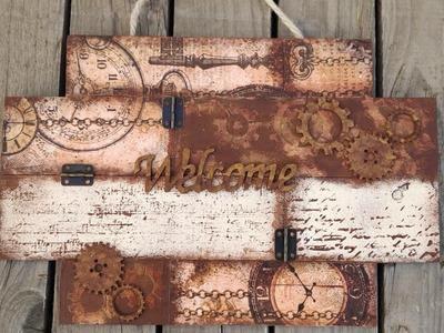 Cartel steampunk con decoupage y relieve - mixed media