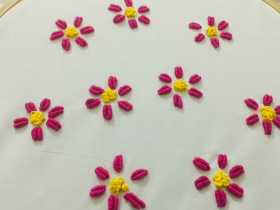 Hand embroidery all over flower design for dress or saree | bullion knot flower embroidery for kurti