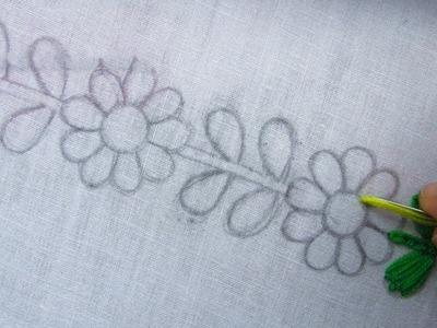 Hand Embroidery,  Flower Embroidery Border Line Design, Easy Border Design