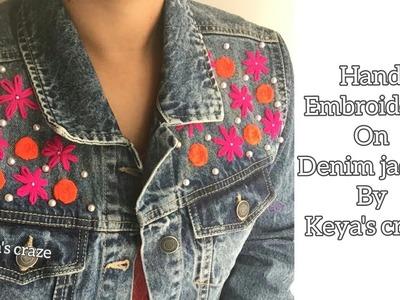 Hand embroidery on Denim jacket | Keya's Craze