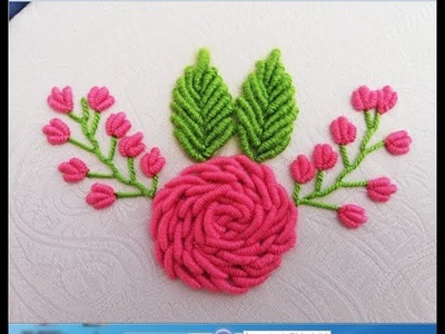 Hand Embroidery:Pink Roses with Bullion Knot Stitch