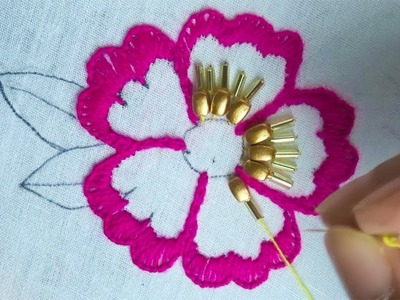 Hand embroidery with beads|modern flower embroidery design
