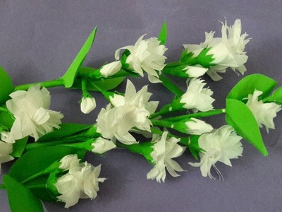 How to Make Jasmine Flower with Tissue paper || Mullapoo Flower Easy Method #5Minutecraftwork