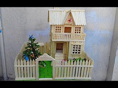 Making a beautiful ice cream stick Christmas house