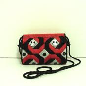 Red,Black & Sliver Jeweled Skull Clutch/Purse