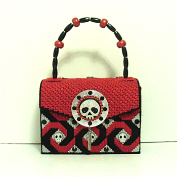 Red,Black & Sliver Jeweled Skull Handbag/Purse