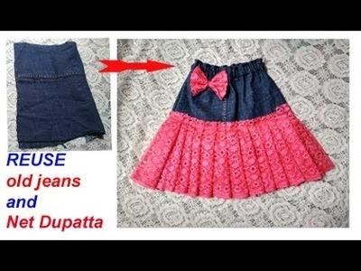 REUSE old dupatta and Jeans to make designer skirt. best idea of old jeans.net dupatta reuse idea